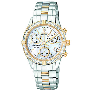Citizen Ladies' Two Tone Diamond Dial Chronograph Watch - Product number 8595275