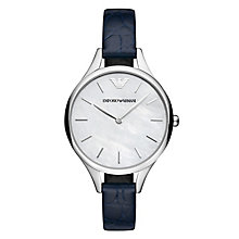 Emporio Armani Ladies' Mother of Pearl Blue Strap Watch - Product number 8601844