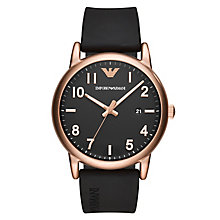 Emporio Armani Men's Rose Gold Tone Black Strap Watch - Product number 8602042