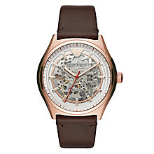 Emporio Armani Men's Rose Gold Tone Brown Strap Watch - Product number 8602077