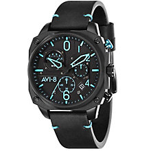 AVI-8 Men's Hawker Hunter Black Leather Strap Watch - Product number 8602980
