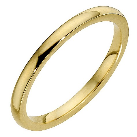 18ct 2mm yellow gold heavy court wedding band