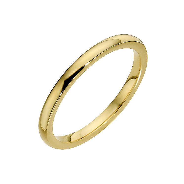 18ct 2mm yellow gold heavy court wedding band Ernest Jones