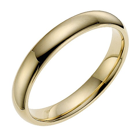 9ct yellow gold 3mm super heavyweight court ring