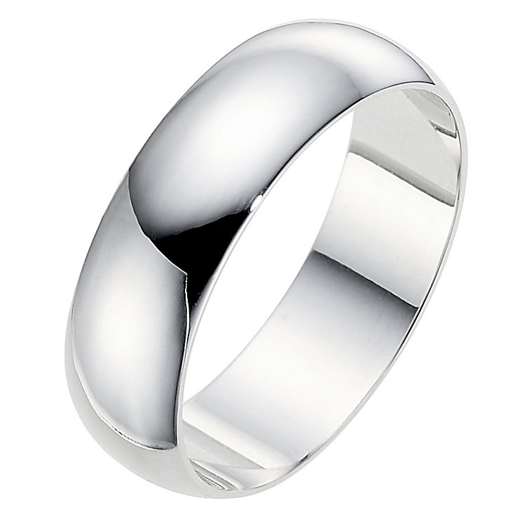 18ct white gold D shape 6mm wedding ring - Product number 8604223