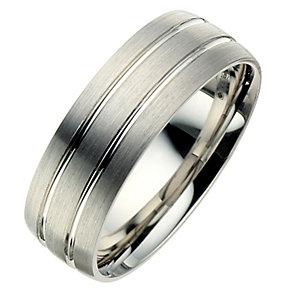 Palladium 950 7mm twin groove matt ring - Product number 8606773