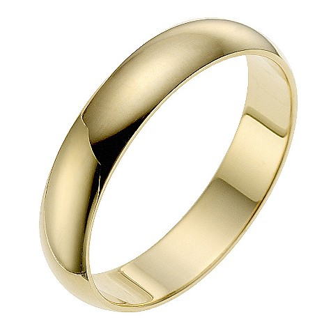 9ct yellow gold 4mm D shape wedding ring