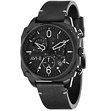 AVI-8 Men's Hawker Hunter Black Leather Strap Watch - Product number 8608032