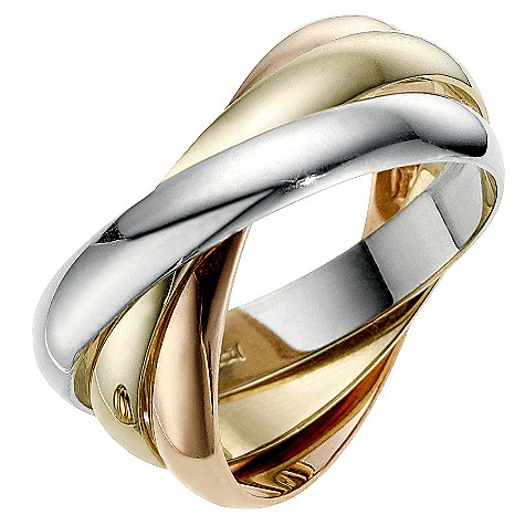 9ct three colour gold 3mm Russian wedding ring
