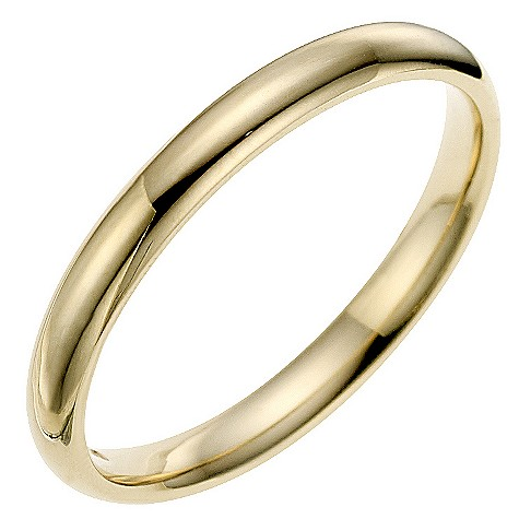 9ct yellow gold 2mm super heavyweight court ring