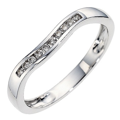 9ct white gold diamond set wedding ring.