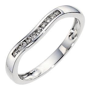 9ct white gold diamond set wedding ring. - Product number 8614784
