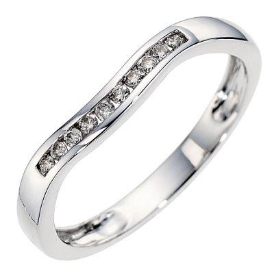 9ct white gold diamond set wedding ring Ernest Jones