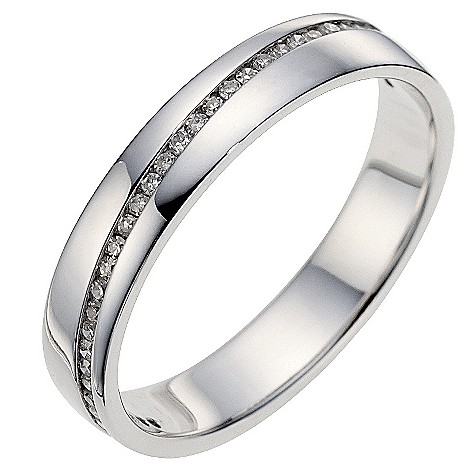 9ct white gold diagonal diamond set wedding ring