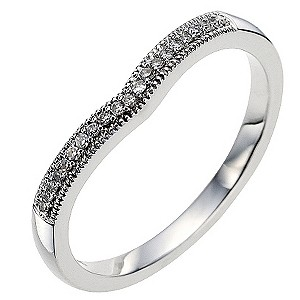 9ct white gold diamond set shaped wedding ring - Product number 8615756