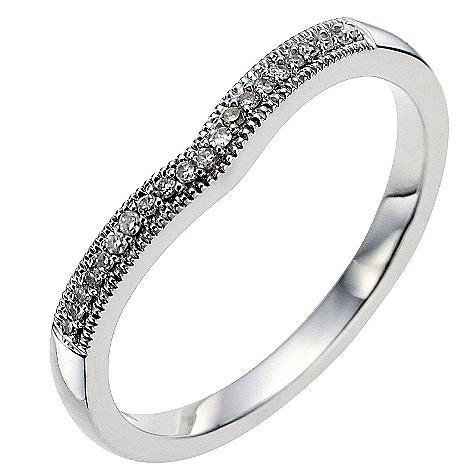9ct white gold diamond set shaped wedding ring