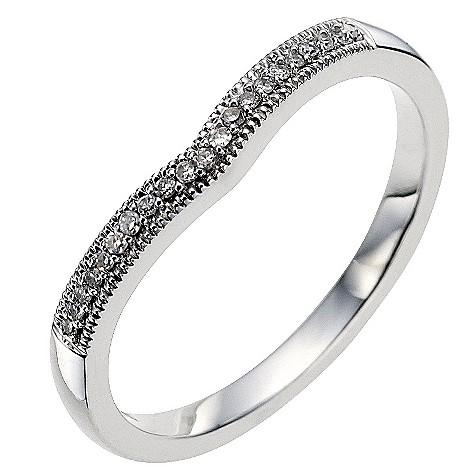 9ct white gold diamond set shaped wedding ring