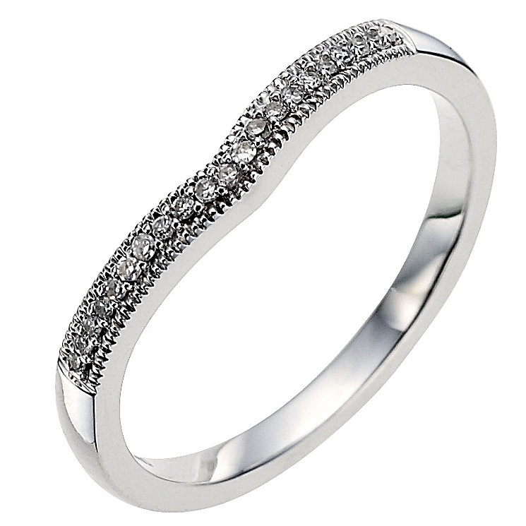 9ct white gold diamond set shaped wedding ring - Product number 8615756