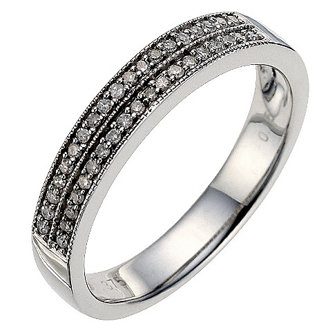 9ct white gold 0.15 carat diamond milgrain wedding ring