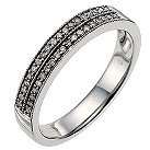 9ct white gold 0.15 carat diamond milgrain wedding ring - Product number 8615888