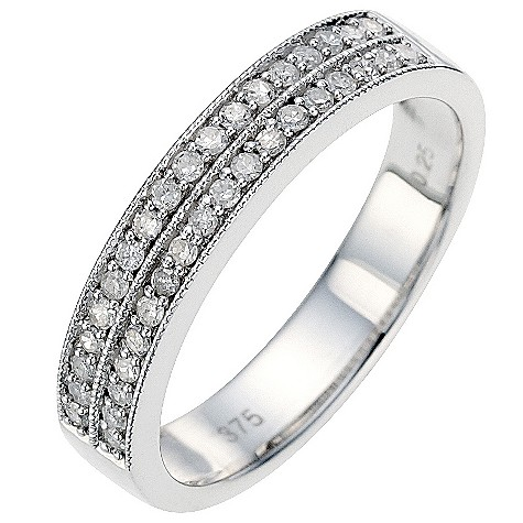 9ct white gold quarter carat diamond milgrain wedding ring