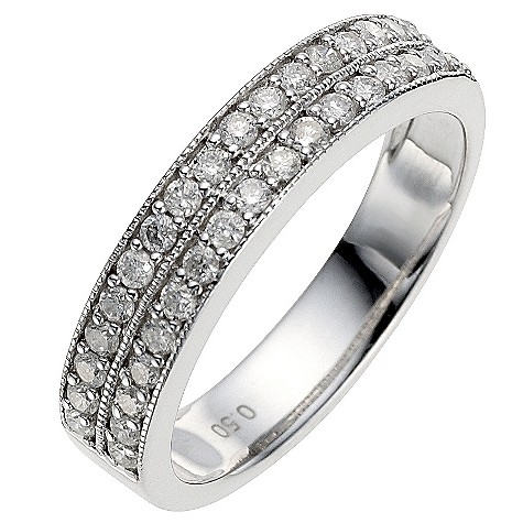 9ct white gold half carat diamond milgrain wedding ring