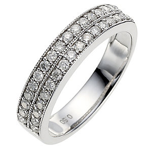 9ct white gold half carat diamond milgrain wedding ring - Product number 8616140