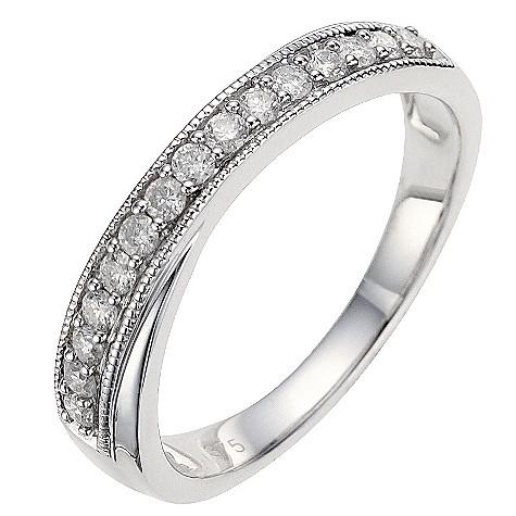 9ct white gold quarter carat diamond vintage cross over ring