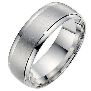 9ct white gold 7mm matt & polished finish wedding ring - Product number 8617627