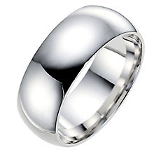 9ct white gold 8mm super heavyweight court ring - Product number 8617708