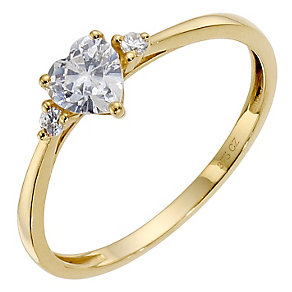 9ct Yellow Gold Cubic Zirconia Heart Ring - Product number 8628165