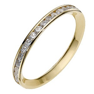 9ct Yellow Gold Cubic Zirconia Channel Set Eternity Ring