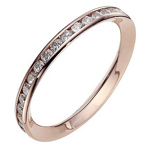 9ct Rose Gold Cubic Zirconia Eternity Ring