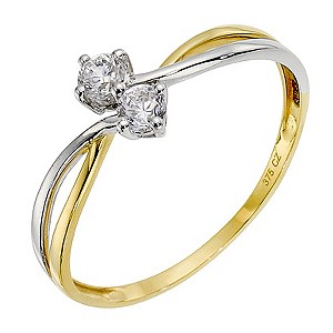 9ct Yellow Gold Cubic Zirconia Crossover Ring