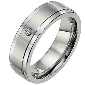 Cobalt 7mm diamond matt & polished wedding ring - Product number 8632375