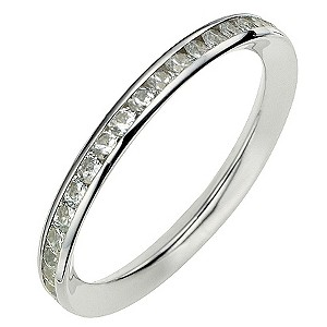 9ct White Gold Channel Set Cubic Zirconia Ring