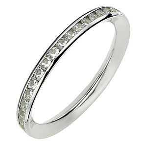 9ct White Gold Channel Set Cubic Zirconia Ring - Product number 8633355