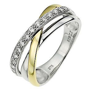 Silver & 9ct Yellow Gold Cubic Zirconia Twist Ring - Product number 8634718