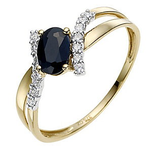 9ct Yellow Gold Sapphire & Cubic Zirconia Ring - Product number 8635315
