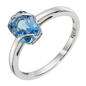 9ct White Gold Blue Topaz Wrap Ring