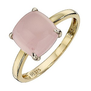 9ct Yellow Gold & Silver Rose Quartz Cushion Cut Ring - Product number 8636214