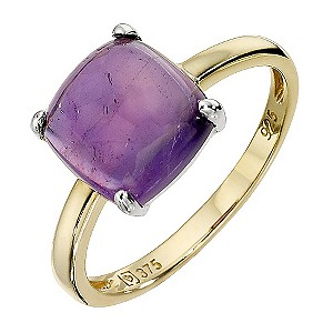 9ct Yellow Gold and Silver Amethyst Ring