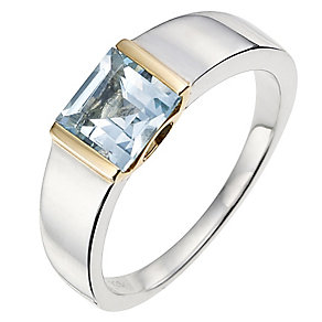 Silver & 9ct Yellow Gold Blue Topaz Ring - Product number 8636648