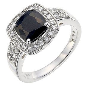 Silver Sapphire & Cubic Zirconia Cocktail Ring - Product number 8637644