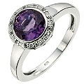 Silver Amethyst & Cubic Zirconia Cocktail Ring - Product number 8638500