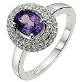 Silver Amethyst & Cubic Zirconia Vintage Style Cocktail Ring - Product number 8638802
