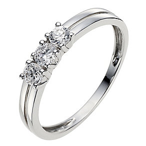 9ct White Gold Split Band Cubic Zirconia Trilogy Ring - Product number 8639957