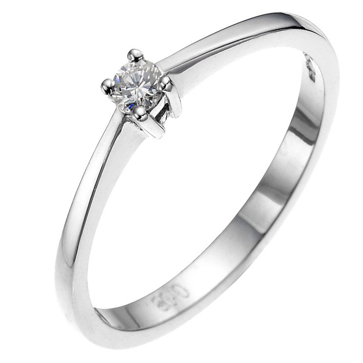 9ct white gold diamond solitaire ring - Product number 8641560