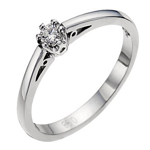 9ct white gold diamond solitaire ring - Product number 8641692