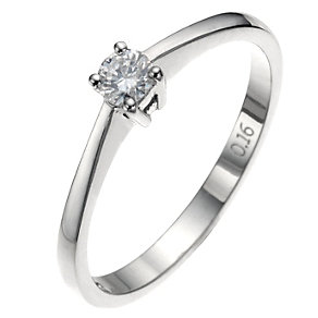 9ct white four claw diamond solitaire ring - Product number 8641838